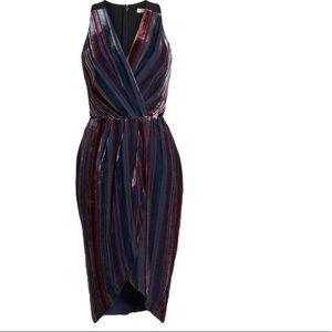 Stripe Velvet Cocktail Sheath dress